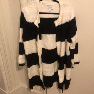 B/W Striped Sweater Coat